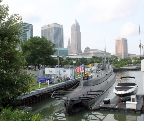 USS Cod and Cleveland skyline