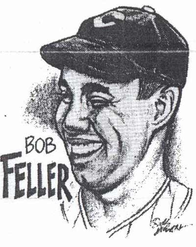 A Dick Dugan drawing of Bob Feller