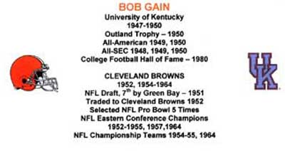 Bob Gain's football stats - Cleveland Browns and University of Kentucky