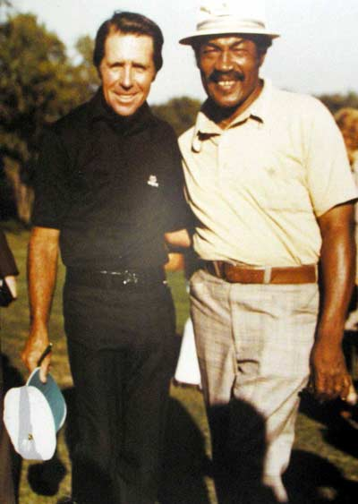 Charlie Sifford with Gary Player