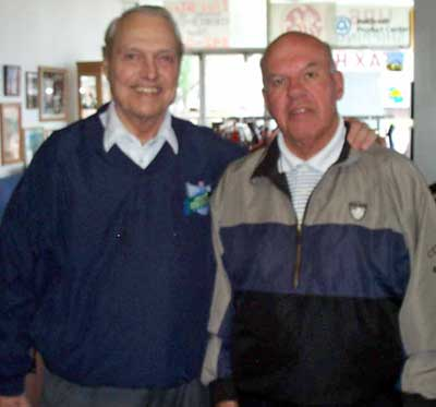 Dante Lavelli and friend Chuck Spitz in Lavelli's store
