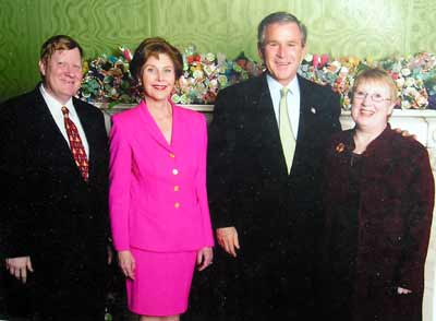 George Condon Jr. with Laura and George W. Bush and sister