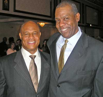 Austin Carr and Harry Davis at a Sports Banquet in 2007