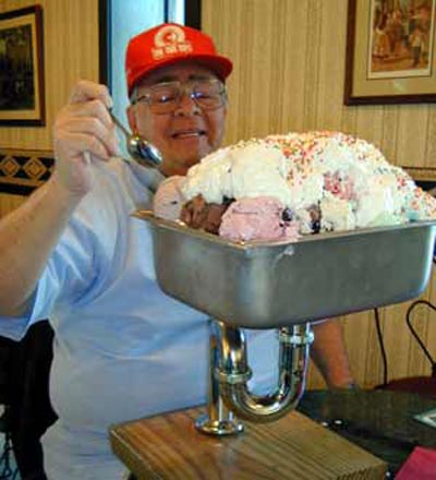 Neil Zurcher working on a Kitchen Sink Sundae from Elm Dairy