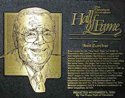 Neil Zurcher in Hall of Fame plaque