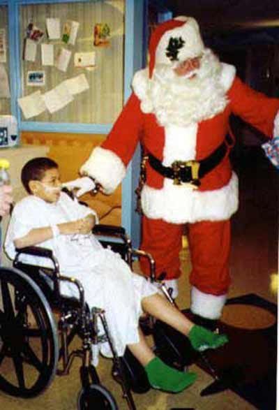 Santa Claus with a sick child
